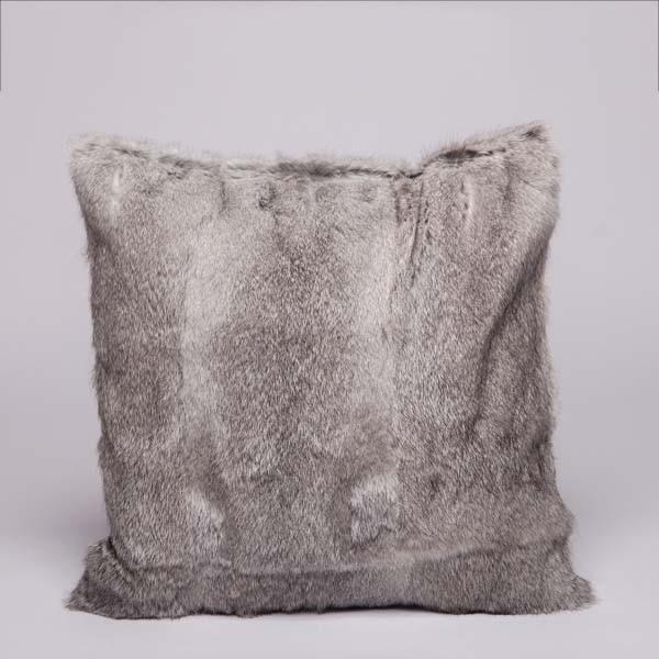 Rabbit fur pillow case color silver whole skin