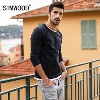 SIMWOOD 2018 Spring New Fake Double Layered T Shirt Men Long Sleeve 100 Cotton Fashion Tops