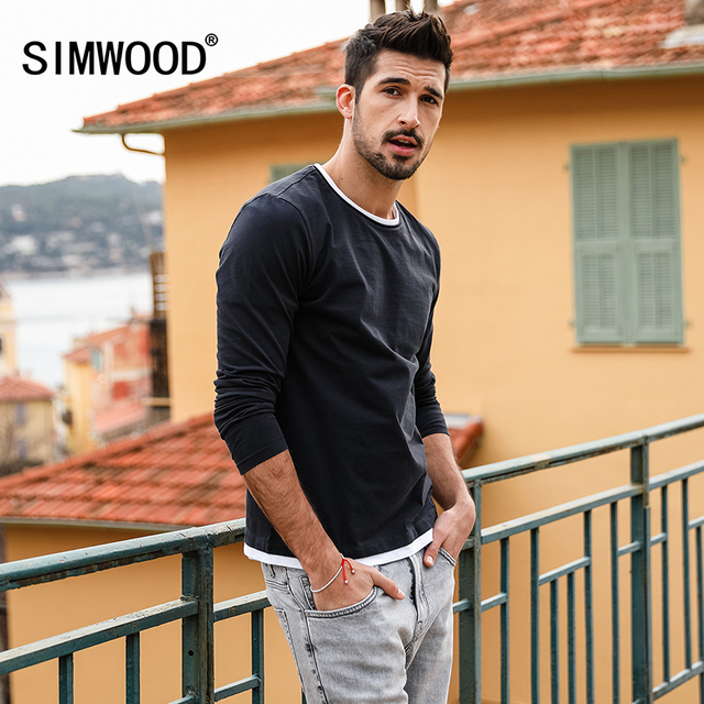 18ddc8e08d US $14.98 49% OFF|SIMWOOD 2019 Spring New Fake Double Layered T Shirt Men  Long Sleeve 100% Cotton Fashion Tops High Quality Slim Fit Tees 180109-in  ...