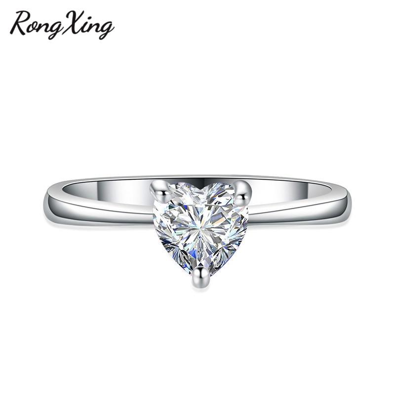 RongXing 925 пробы заполненный серебром браслет с сердцем из опала камень кольца для женщин Винтажная Мода фиолетовый/красный/синий/кольцо с зеленым Цирконом подарок - Цвет основного камня: White