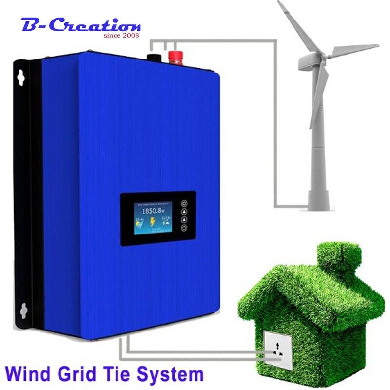 2000 W Generatore di Mulino A Vento 3 FRP Lame con il Tipo di Griglia del Vento Inverter 240 v 220 v Uscita 230vAC per l' uso della casa della Turbina di Vento