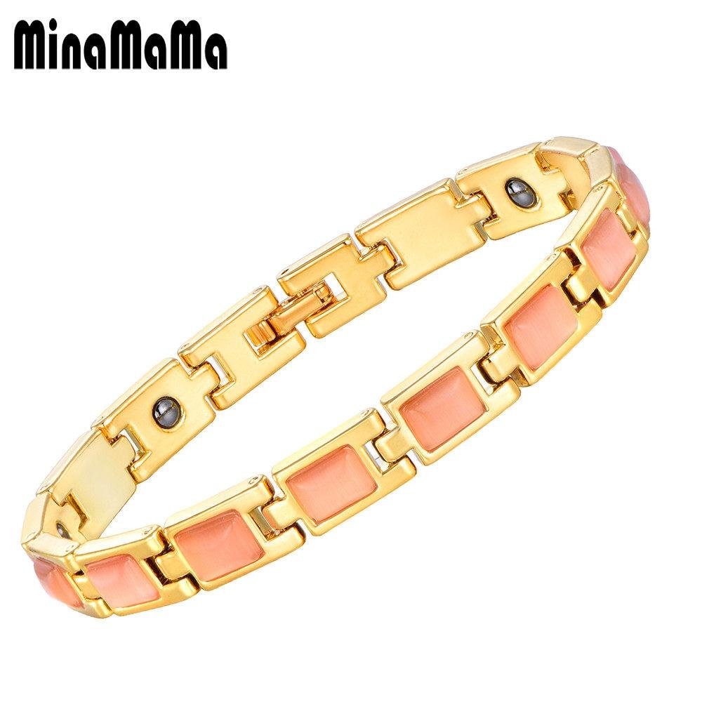 Online Shop Keseimbangan Energi Kesehatan Bio Perhiasan Warna Gelang Magnetic Pink Batu Alam Magnet Untuk Wanita Bangle