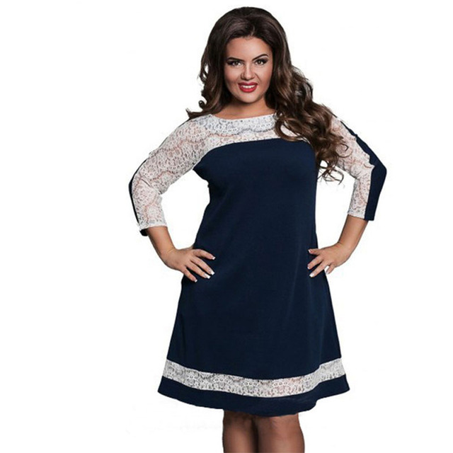 168579cb1c9c New L-6XL Plus Size Dress Fashion Women Large Size Straight Dress Sexy  Clothing Lace Stitching Sleeve Slim Midi Dresses Vestidos