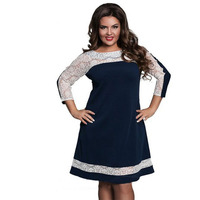 New L 6XL Plus Size Dress Fashion Women Large Size Straight Dress Sexy Clothing Lace Stitching