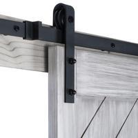 KINMADE 5ft/6ft/6.6ft/8ft/10ft Black Antique Style Steel Sliding Barn Rustic Wood Door Closet Hardware