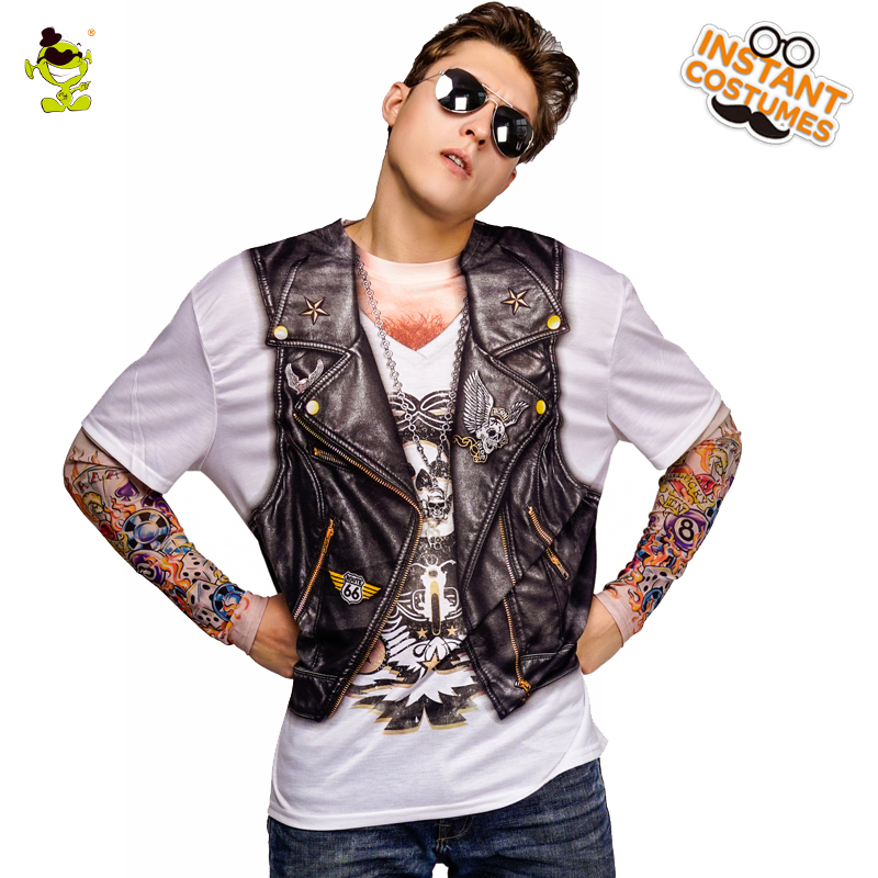 New Arrival Tattoos 3 D Printed  T-shirt Costume Party New Style Printing Long Sleeve Top Clothes Adult Men's Tattoos T-shirts