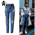 Achiewell Plus Size BF Women Floral embroidery Jeans High Waist Ladies Straight Denim Pants Jeans Bottoms