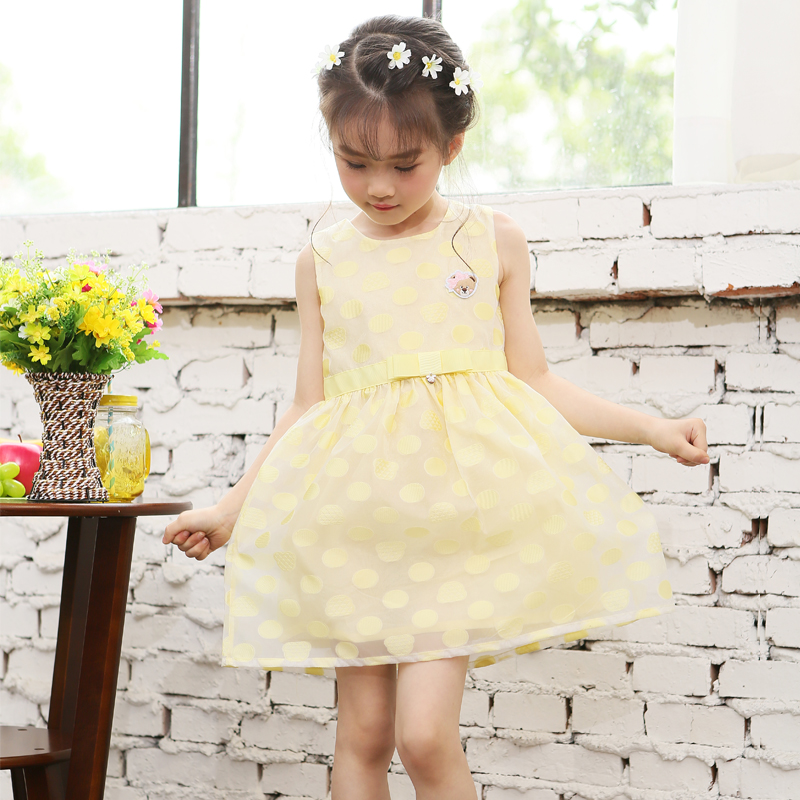 2016 bow o neck tutu summer cute mesh princess dress wedding dresses girls birthday party dresses