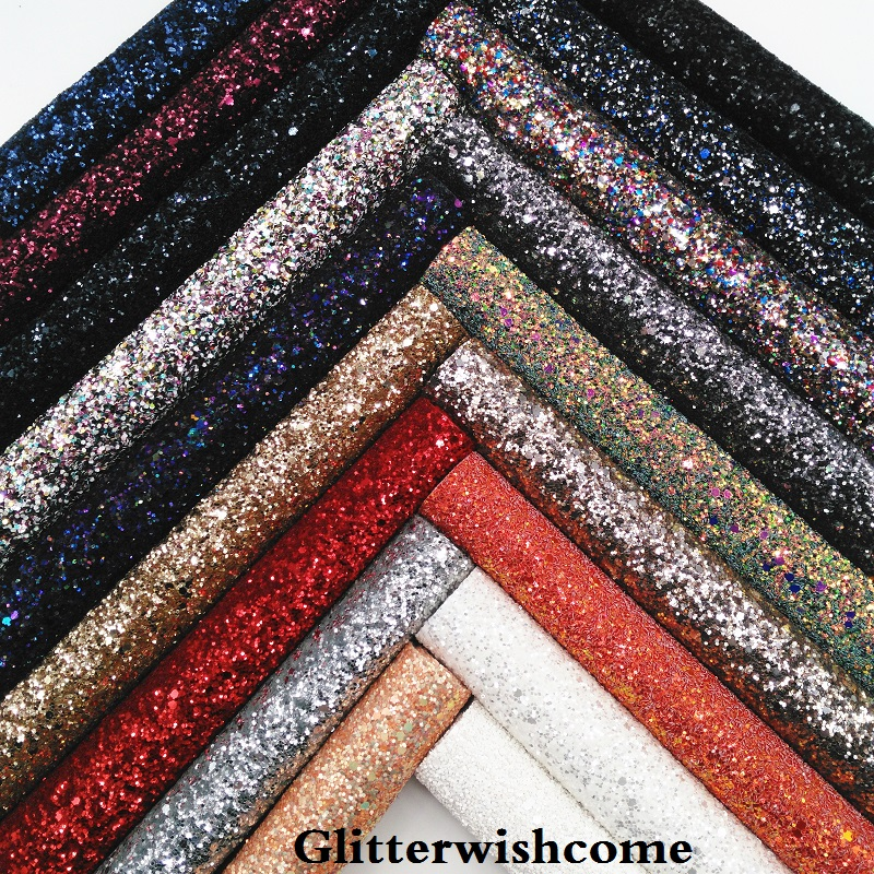 Glitterwishcome 30x134CM Mini Roll Synthetic Leather, Chunky Glitter Leather With Stretch Backing GM077