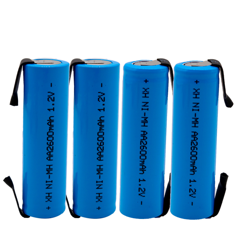 2/4/8/12 PCS Lote AA Rechargeable Battery 1.2V 2600mAH NiMH Battery With Solder Pins For DIY Electric Razor Toothbrush Toys