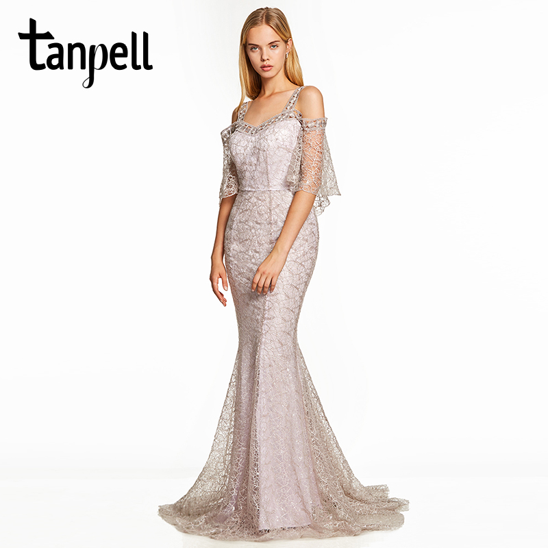 Tanpell straps evening dress silver half sleeves a line floor length dresses women lace sweep train long formal evening gown