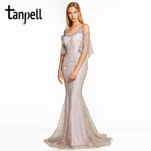Tanpell straps evening dress silver half sleeves a line floor length dresses women lace sweep train long formal evening gown david silver a slow train coming