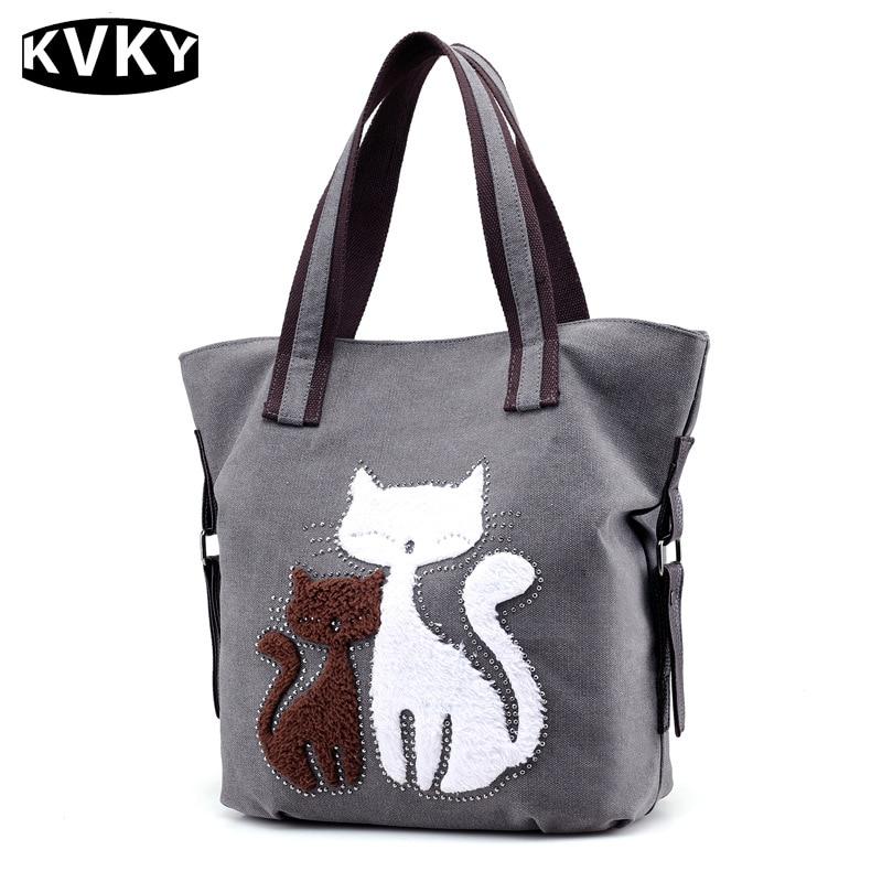 Cute Cat Canvas Handbags Female Causal Tote Bag Ladies Solid Shoulder Bags Travel Bolsos