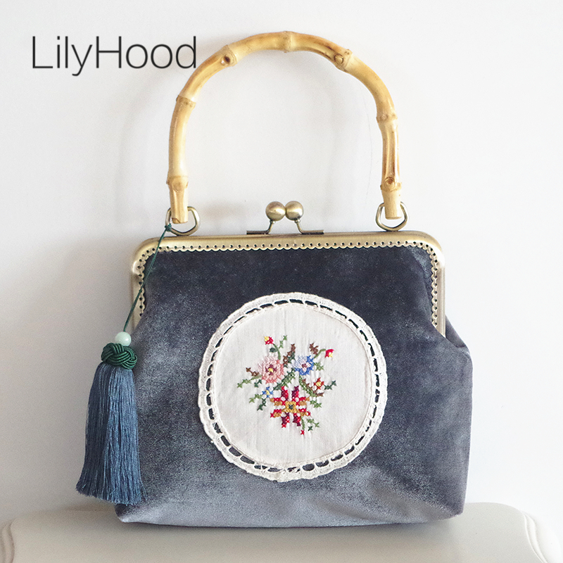 LilyHood Velvet Embroidery Shoulder Bag for Women Floral Vintage Retro Frame Kiss Lock Wooden Bamboo Handle Tote Bags