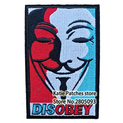 V For Vendetta Movie Character Face Fabric Iron On Patch, DC Super Hero Kids Jacket Hat DIY Embroidered Accessories Wholesale