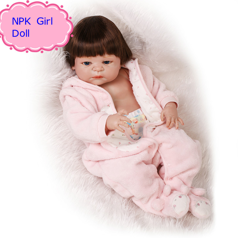 New NPK Real Lifelike Reborn Baby Doll 22Inch Full Silicone Vinyl Newborn Babies Brinquedo do Bebe Kids Birthday Christmas Gift can sit and lie 22 inch reborn baby doll realistic lifelike silicone newborn babies with pink dress kids birthday christmas gift