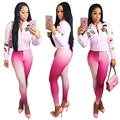 Pink Two Piece Set Women Jumpsuit And Rompers Casual Tracksuit 2016 Autumn Moleton Zipper Pants Suit Overalls Feminino
