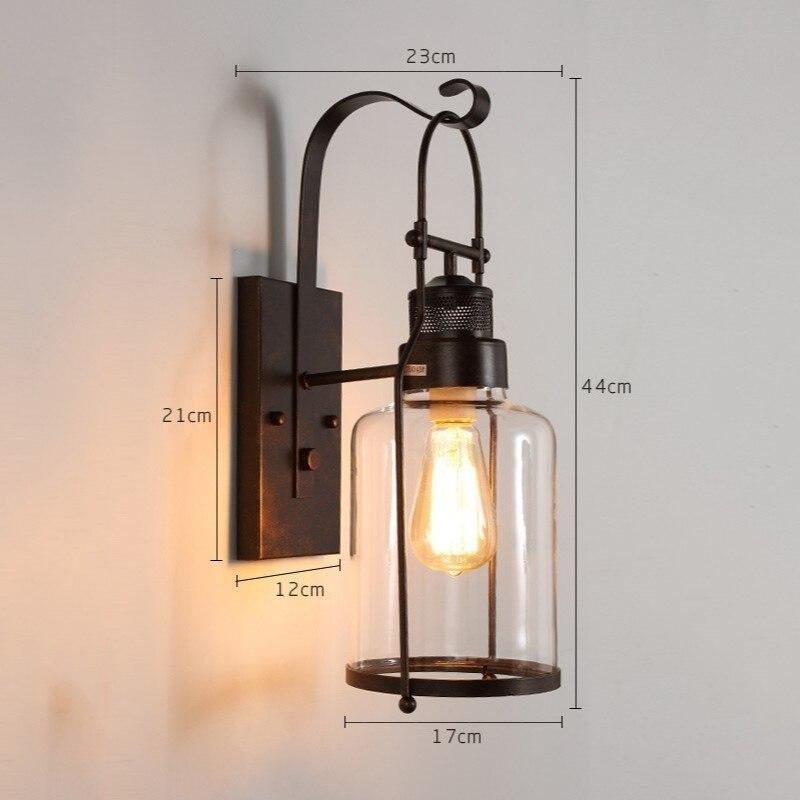 Loft industriel Vintage lampes murales rétro fer applique pour salon Bar salle de bain chambre chevet lampes verre mur LED lumières - 4