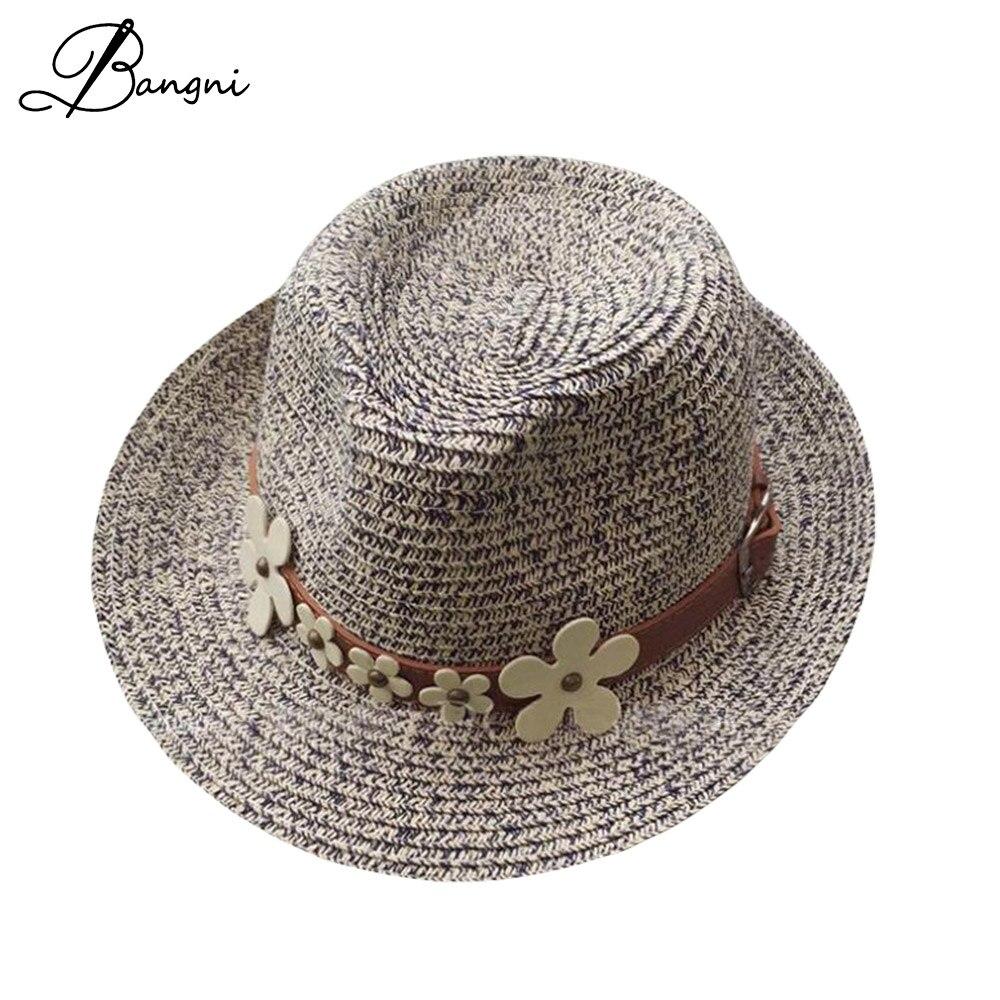 2017 wide brim floppy Chrysanthemum belt jazz hats for Women beach summer sun straw dad Hats