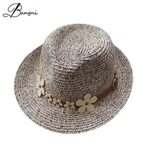 2017 wide brim floppy  Chrysanthemum belt jazz  hats for Women beach summer sun straw dad Hats flat plastic sun visor caps.