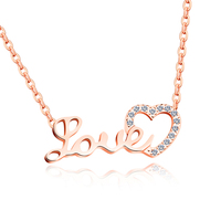 FATE LOVE Brand Necklace Women Fashion Statement Heart Pendant Girl Lady Party Jewelry Stainless Steel Chain