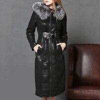 Womens Real Fox Fur Collar Hooded Long Coat Lamb Fur Liner Genuine Sheep Skin Jacket Real Mongolia Sheep Fur Female Overcoat