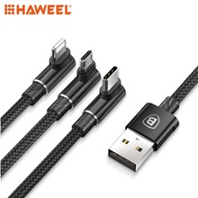 HAWEEL 1.2m 3.5A Braided 3 in 1 L-type Micro USB + 8 Pin + Type-C Fast Charge Data Syn Cable For iPhone and Other Smart Phones usams u gee series 8 pin and micro 2 in 1 charge cable white