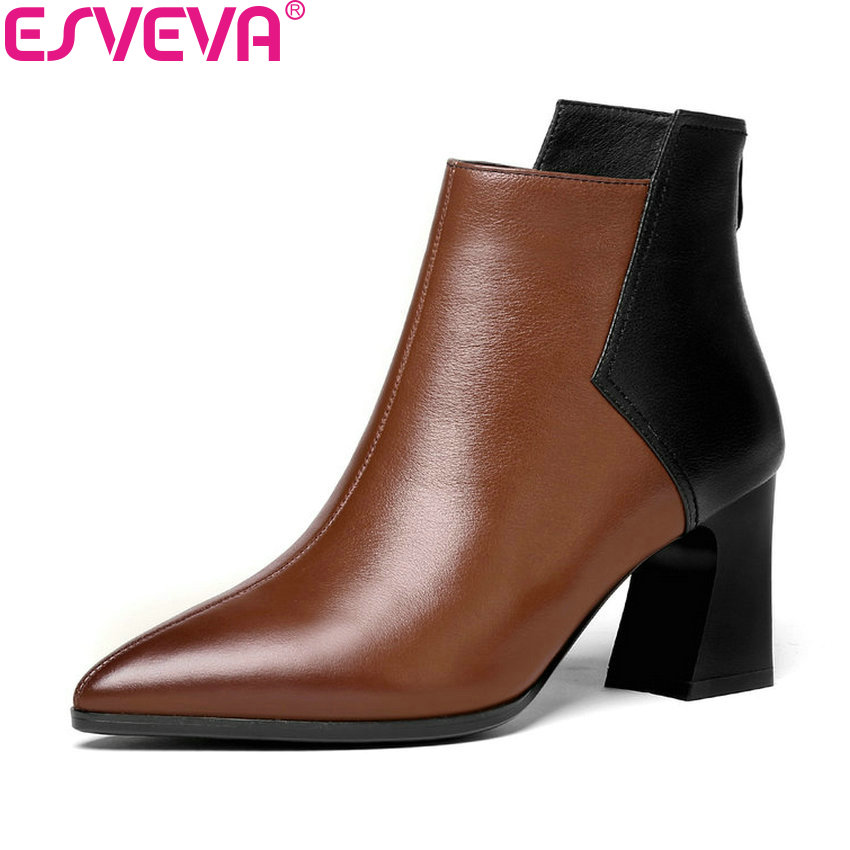ESVEVA 2019 Zipper Ankle Boots Square High Heels Shoes Woman Pointed Toe Cow Leather Boots Patchwork Boots Shoes Size 34-42 esveva 2018 women boots cow leather pu out door zippers square high heels ankle boots pointed toe chunky ladies shoes size 34 39