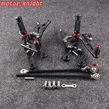 Conjunto de retroiluminação de motocicleta, conjunto de apoio para os pés traseiros preto ajustável para honda 2004-2007 cbr1000rr 2010-2019 cbr600rr