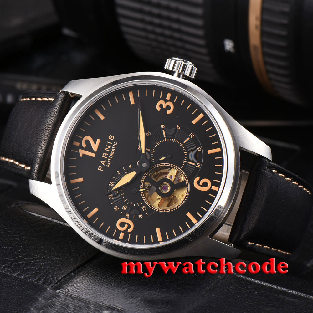 44mm parnis black dial orange marks date golden miyota automatic mens watch P817 все цены