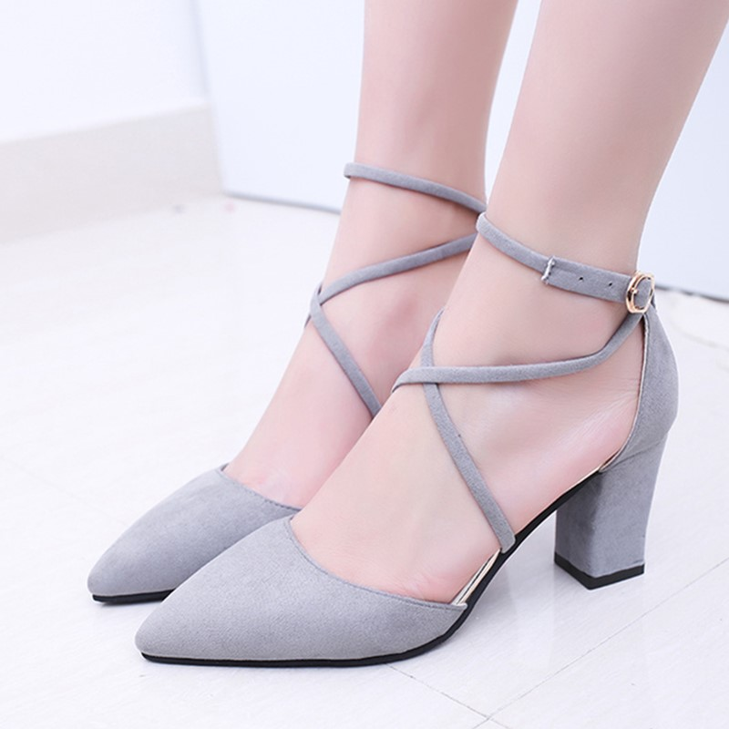 2019 Fashion Summer  Women Square heel Flock  Shoes Pointed Toe Pumps  High Heels Lace-up shoes high quality x0012019 Fashion Summer  Women Square heel Flock  Shoes Pointed Toe Pumps  High Heels Lace-up shoes high quality x001