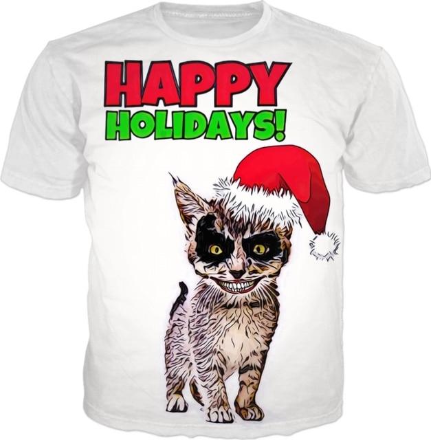 aesthetic casual short sleeve tee happy holidays demon cat t shirt 3d printed tops cat