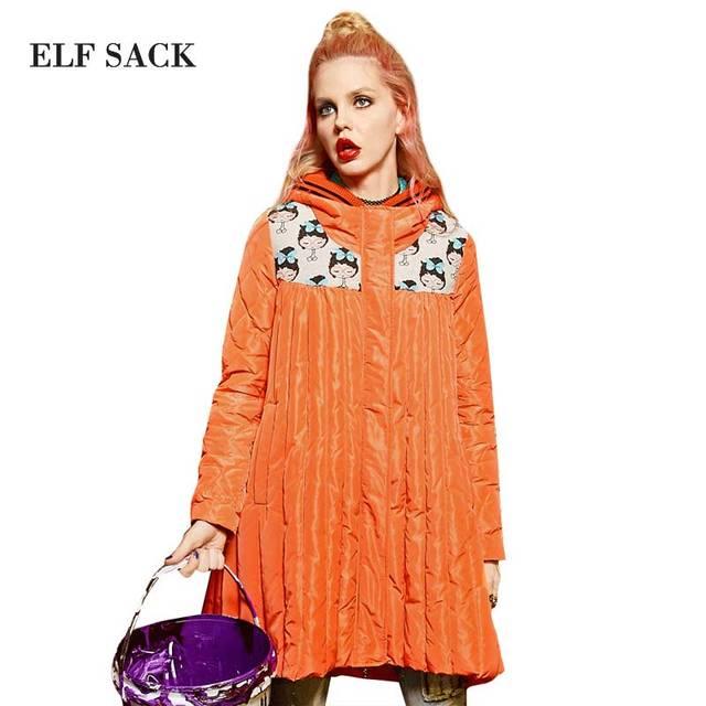 Elf SACO z invierno femenina patchwork jacquard costilla que hace punto con capucha hembra mano medio-largo abajo