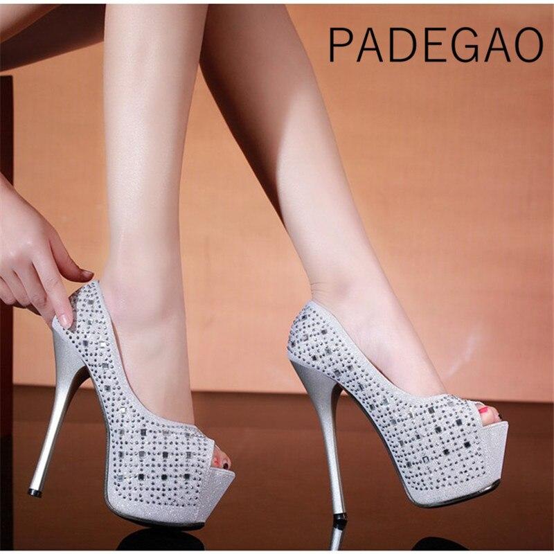 Pumps-Shoes Platform Crystal Bling High-Heels Elegant Designers Peep-Toe Womens Ladies