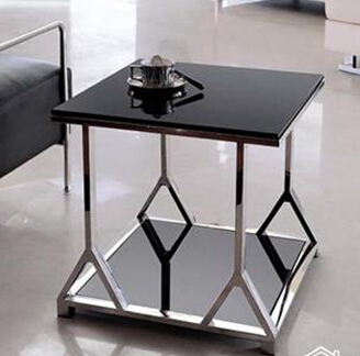 Stainless steel glass. Sofa. Small square table. Small tea table