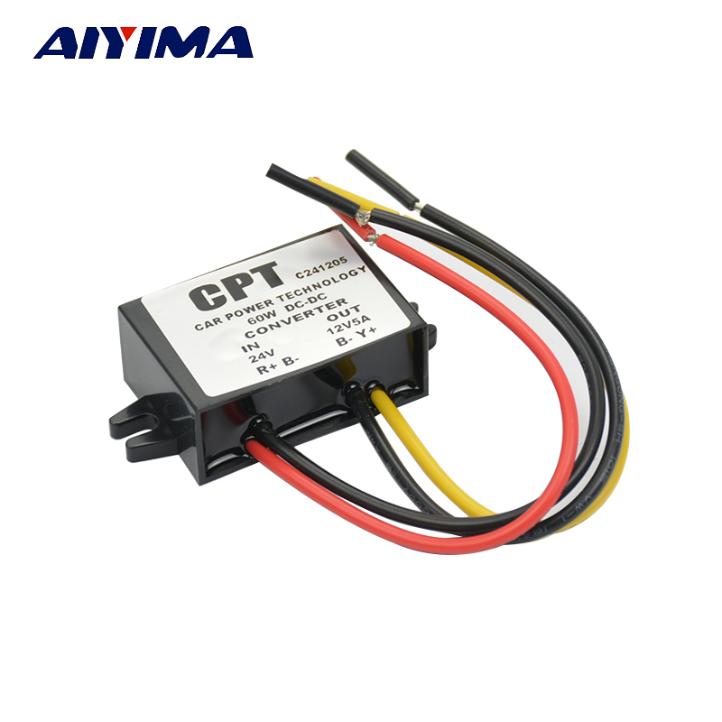 AIYIMA DC-DC 24V to 12V 5A 60W Step-Down Converter LED Car Power Supply Car LED Display Module Free shipping