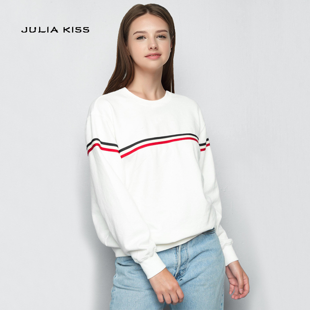 8fb21723f99a Autumn Fashion Women Crew neck Varsity Striped Sweatshirts Casual Long  Sleeve Cotton Sweatshirt Pullovers Tops
