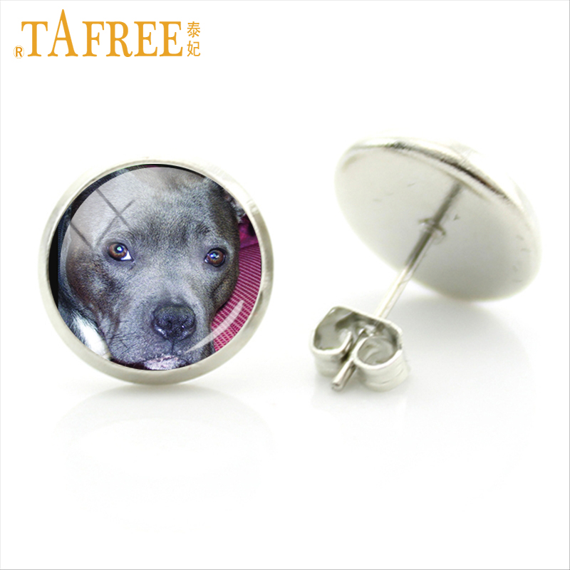 TAFREE New charm women dog earrings Staffie bichon pom yorkie retriever Golden Labrador blenheim tricolour dog jewelry DG11