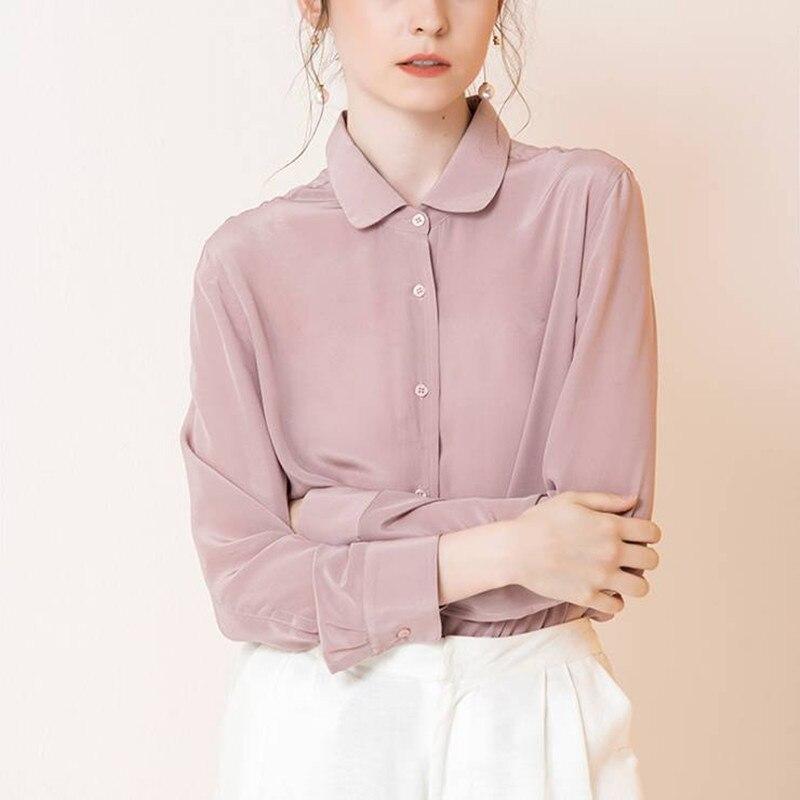 Real Silk Long sleeve OL Shirt 100% Mulberry Silk Top