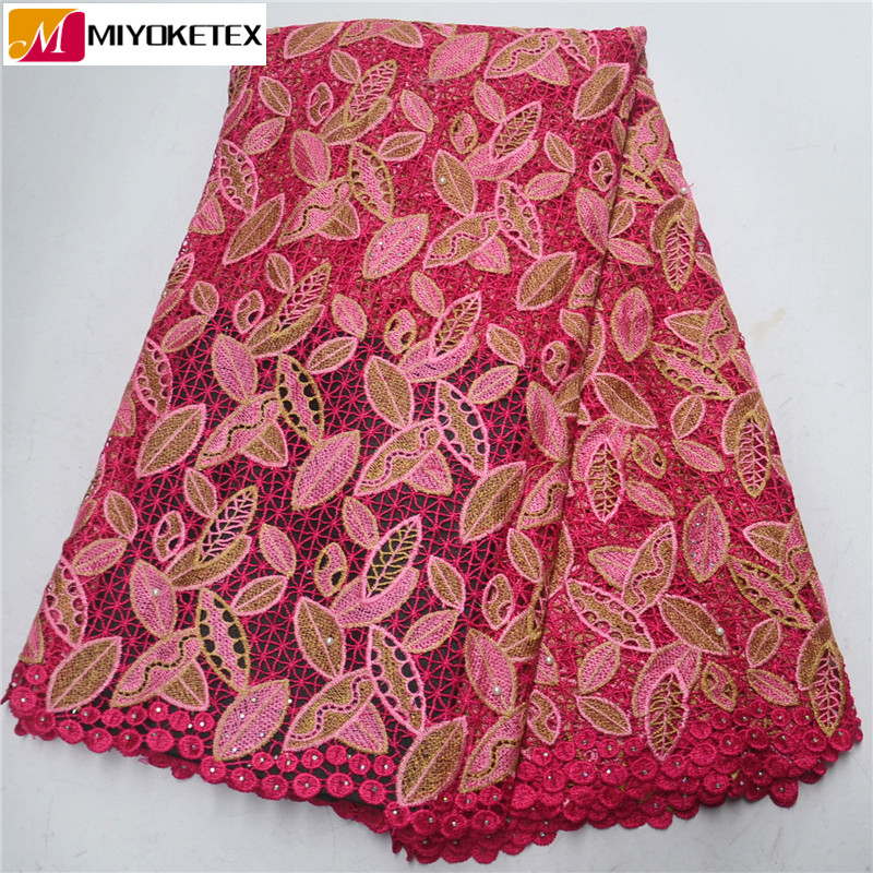High Quality African Guipure Cord Lace Fabrics Embroidery Water Soluble Lace Hot Sales Design For Nigerian
