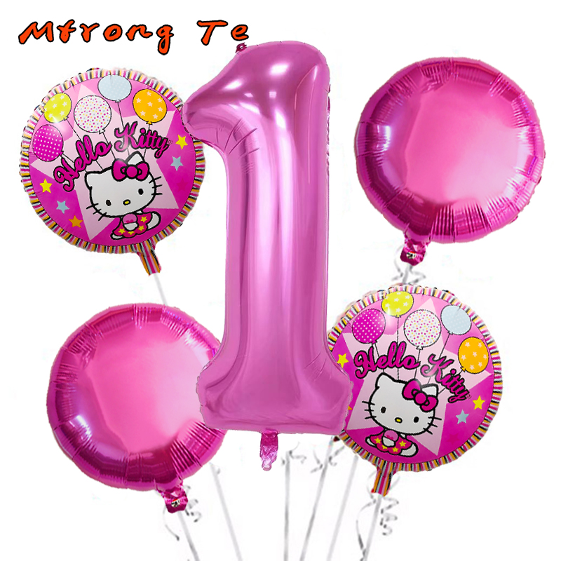 5pcs/lot Hello Kitty foil air balloons for baby shower 1st 2nd 3rd first year old boy girl birthday party Decoration kids Toys