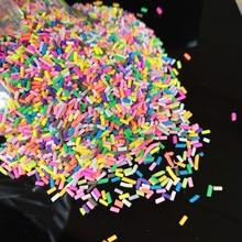 20 g/lote largo polímero cilíndrico caliente arcilla suave rociadores coloridos para artesanías DIY pequeños lindos accesorios de plástico