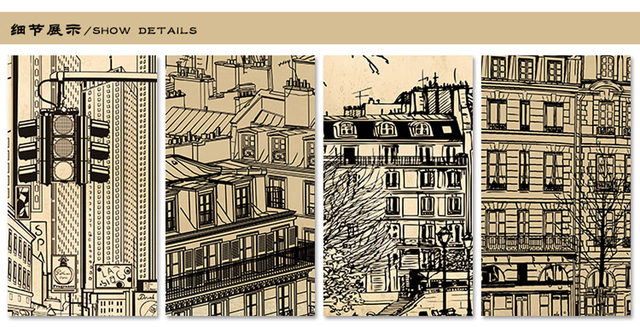 Europe Architecture Sketch City Landscape Building Wallpaper Mural Rolls  For Wall Covering Living Room Bedroom Cafe Shop Decor