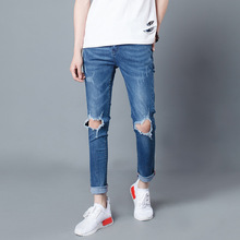 2017 men's street tide destructed relaxed slim fit ripped beggar jeans new fashion men distressed stretch Blue denim pants