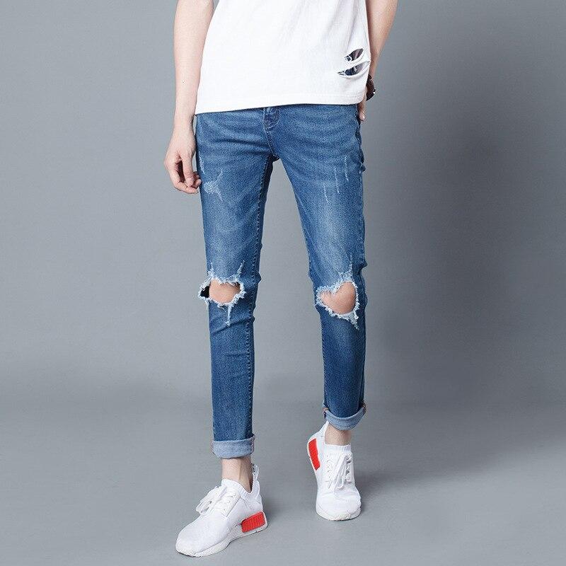 2017  men's street tide destructed relaxed slim fit ripped beggar jeans new fashion men distressed stretch Blue denim pants beggar s feast