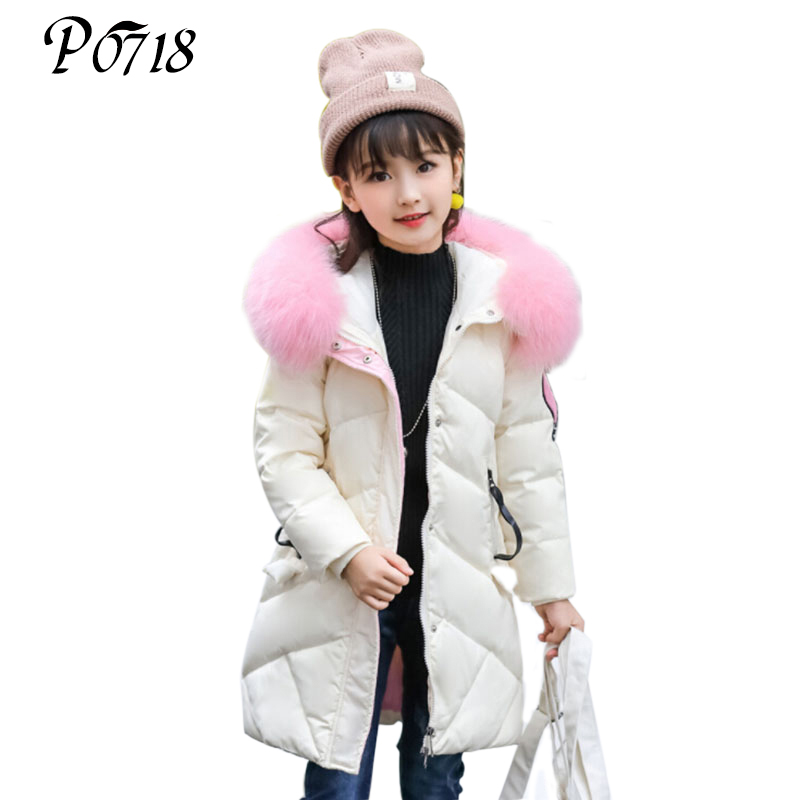 Children's Clothing Girls Winter Down Jacket 2017 Baby Kids Long Fur Thick Hooded Outerwear Toddler Girl Warm Padded Cotton Coat 2015 girl children s winter clothes cotton padded jacket coat for girls kids clothing warm outdoors hooded fur outerwear