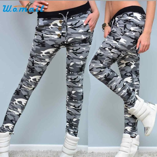 b939bea5c4 Activing Hot Womens Camouflage Button Elastic Waistband Yoga Workout Gym  Leggings Fitness Sports Trouser Athletic Pants DEC.7