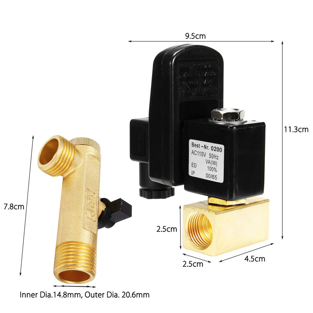 Electronic Drain Valve Timed Gas Tank Automatic Drain Valve 1/2 Port AC 220V 2-way Brass Valve for Air Compressor