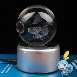 Hot New Sobble Design Crystal Poke Ball 3D Pokemon Figures Kid's Birthday Graduation Gifts