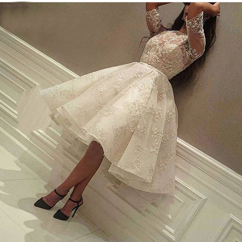 2019 Fashion Ivory Short Prom Dress Lace Applique Beads Half Sleeve Knee Length Dubai Arabic Short Cocktail Dress Party Gowns